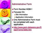 administrative form