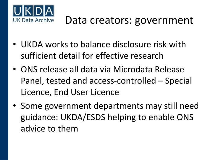 Data creators: government