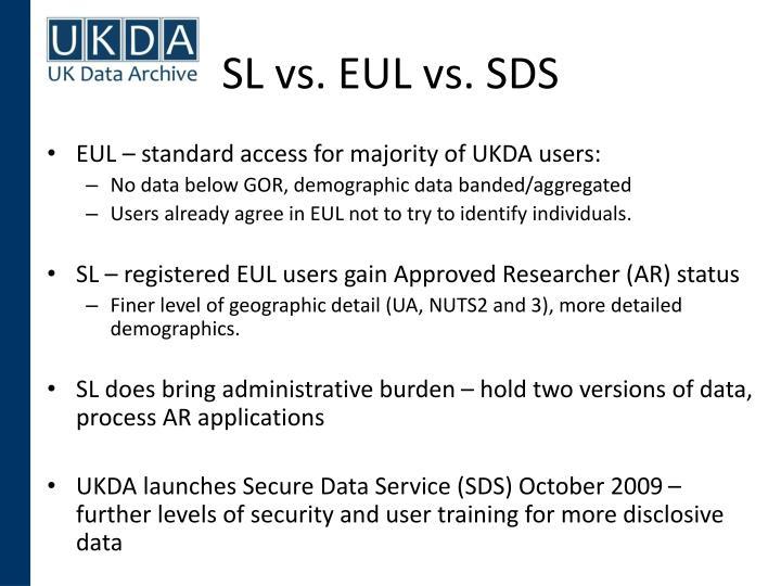 SL vs. EUL vs. SDS
