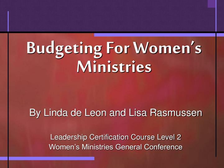 budgeting for women s ministries n.