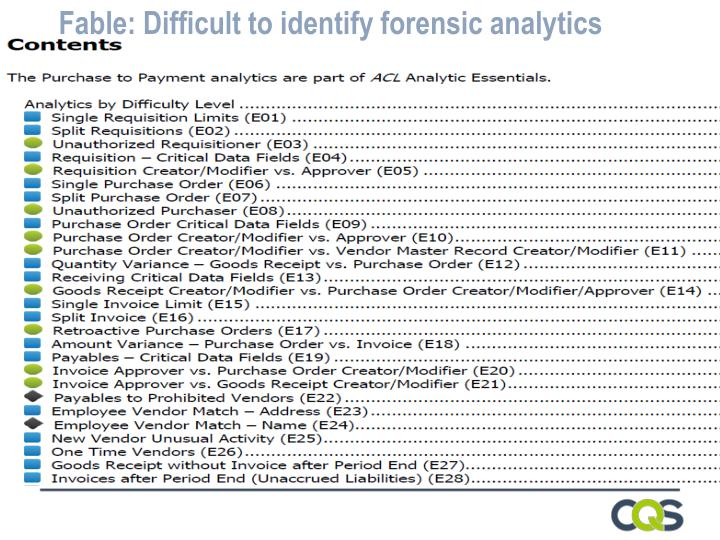Fable: Difficult to identify forensic analytics