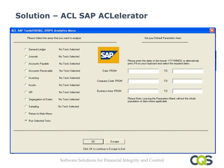 Solution – ACL SAP