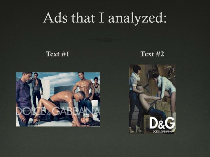 Ads that I analyzed: