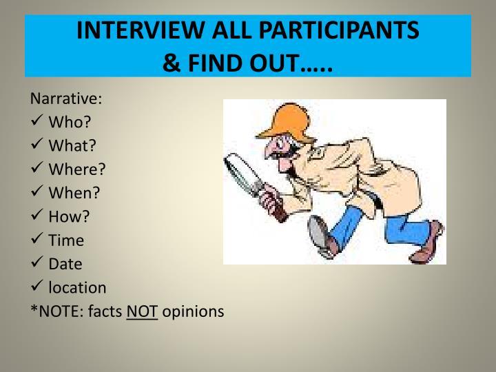 INTERVIEW ALL PARTICIPANTS