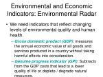 environmental and economic indicators environmental radar