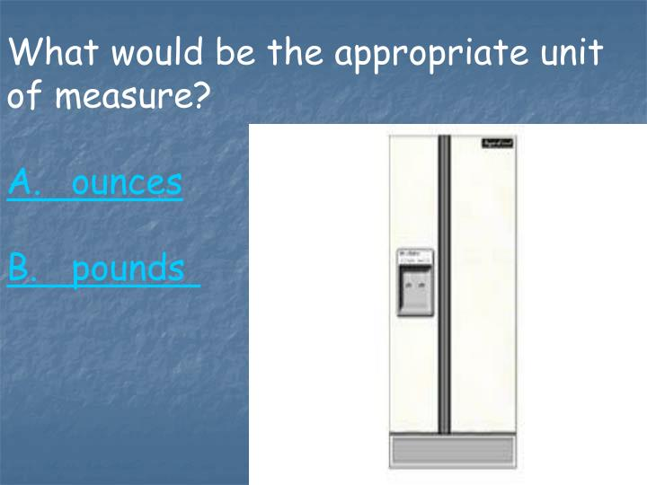 What would be the appropriate unit of measure?
