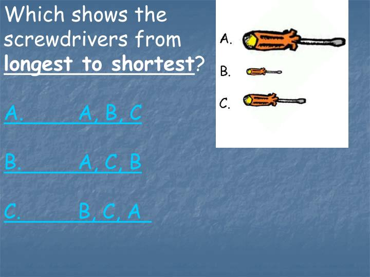 Which shows the screwdrivers from