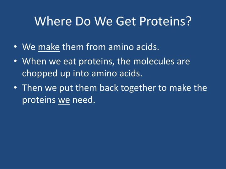 Where Do We Get Proteins?