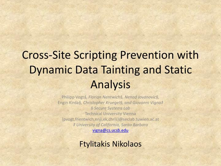 PPT - Cross-Site Scripting Prevention with Dynamic Data