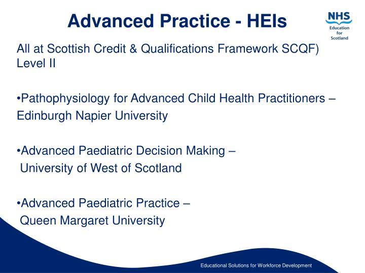 Advanced Practice - HEIs