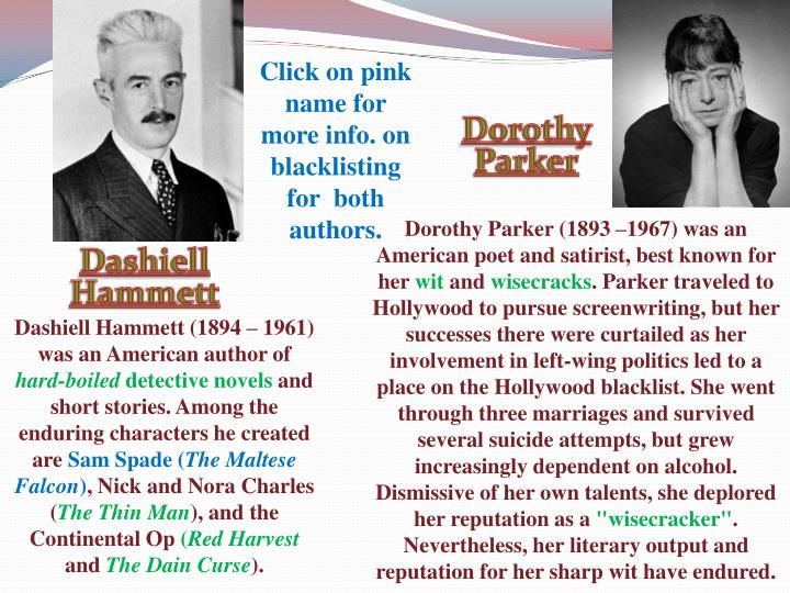 Click on pink name for more info. on blacklisting for  both authors.