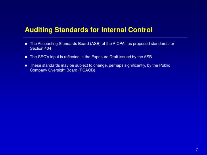 Auditing Standards for Internal Control