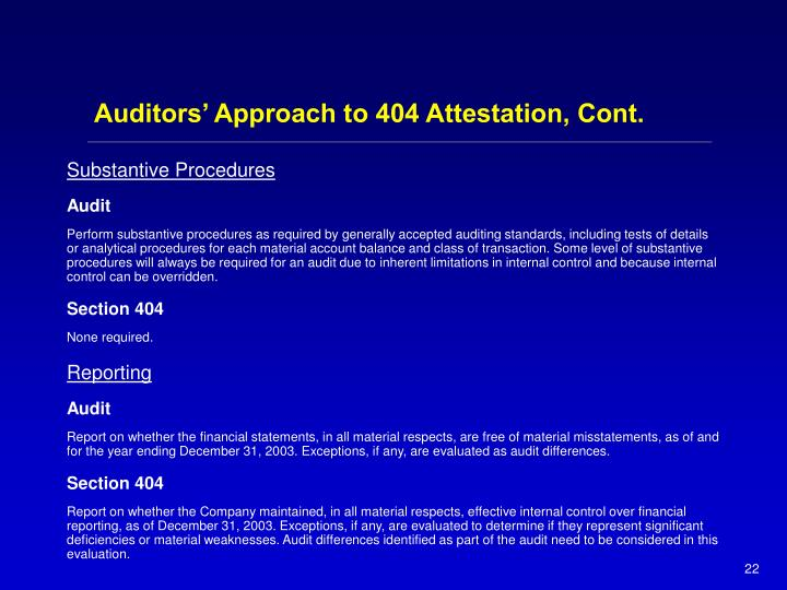 Auditors' Approach to 404 Attestation, Cont.