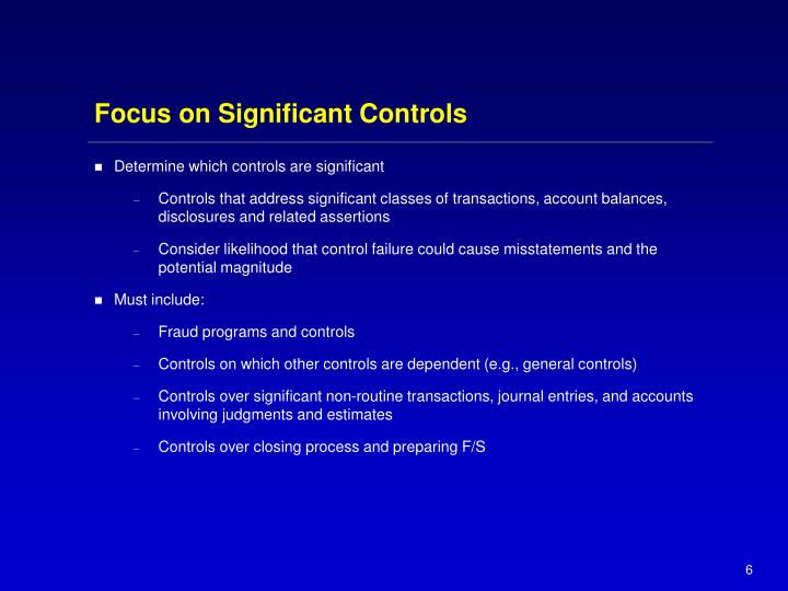 Focus on Significant Controls