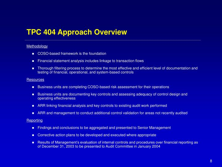 TPC 404 Approach Overview
