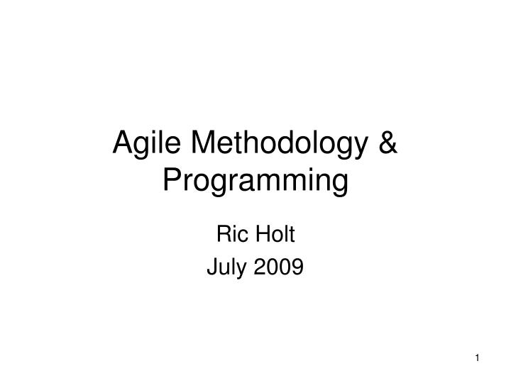 Agile methodology programming