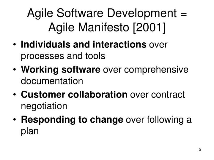 Agile Software Development = Agile Manifesto [2001]