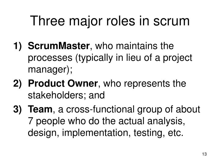 Three major roles in scrum