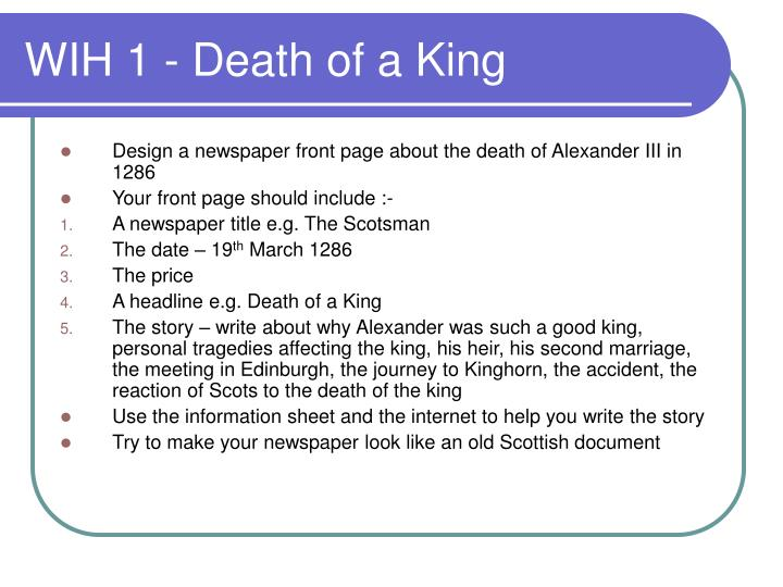 Wih 1 death of a king