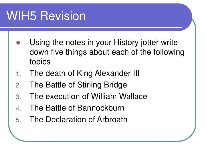 WIH5 Revision