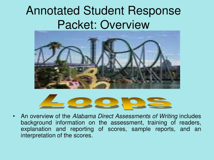 Annotated Student Response Packet: Overview