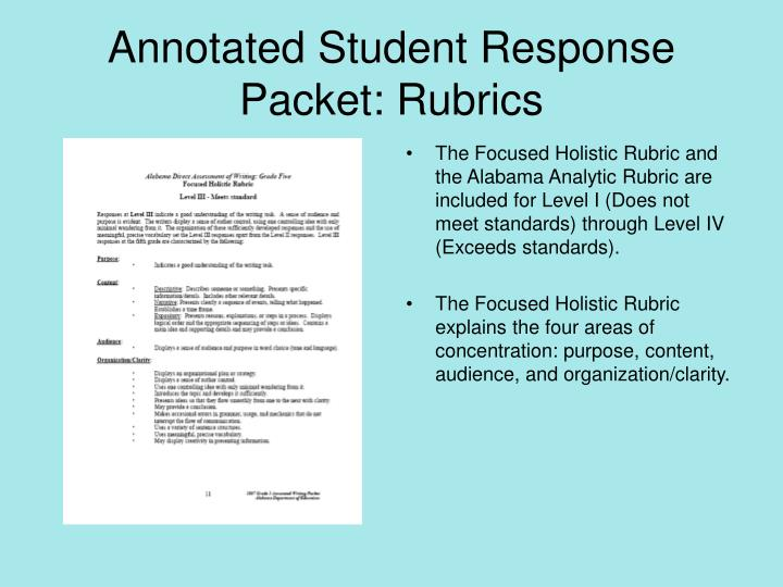 Annotated Student Response Packet: Rubrics