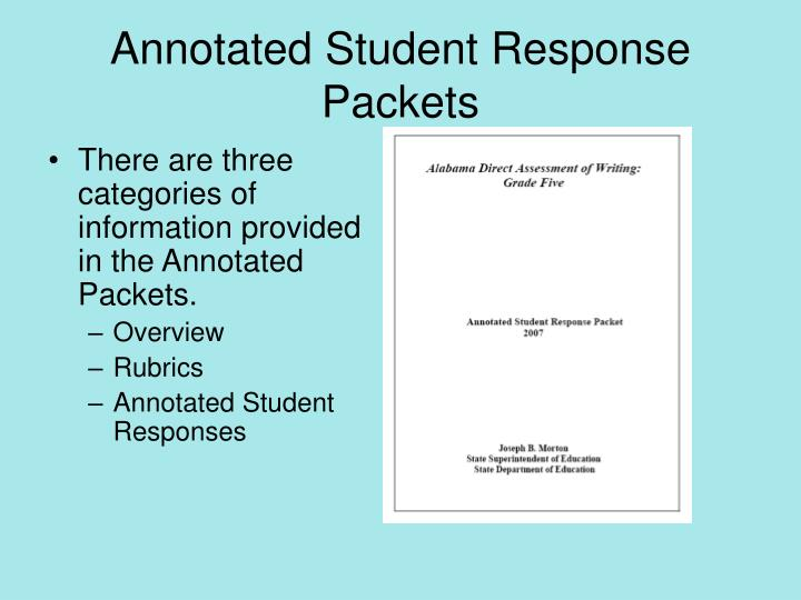 Annotated Student Response Packets