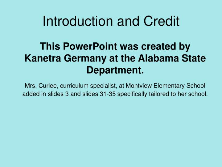 Introduction and credit