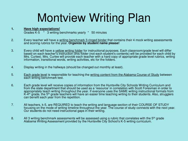 Montview Writing Plan