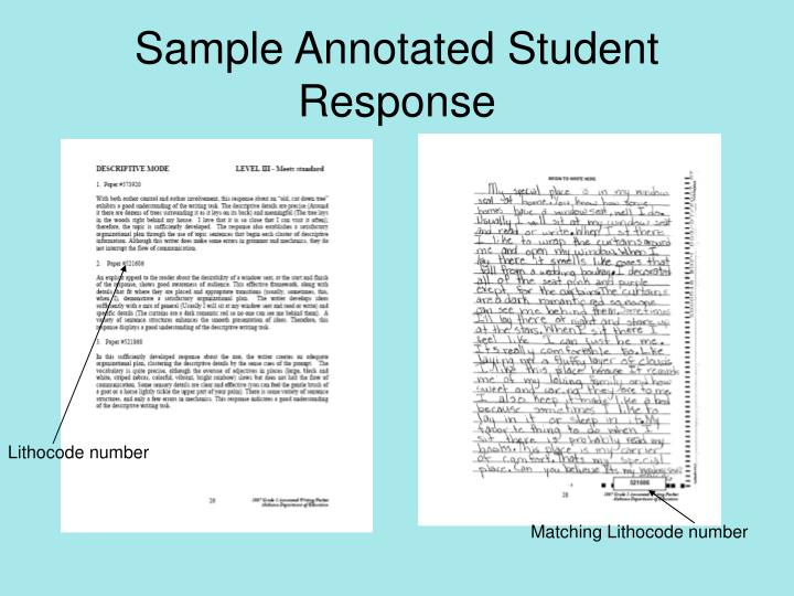 Sample Annotated Student Response