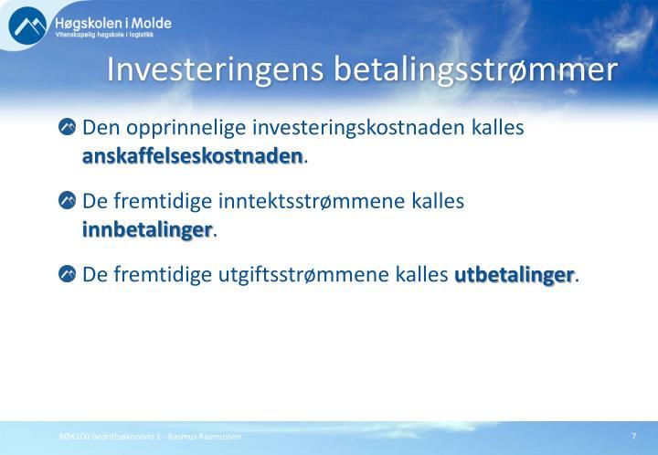 Investeringens betalingsstrømmer