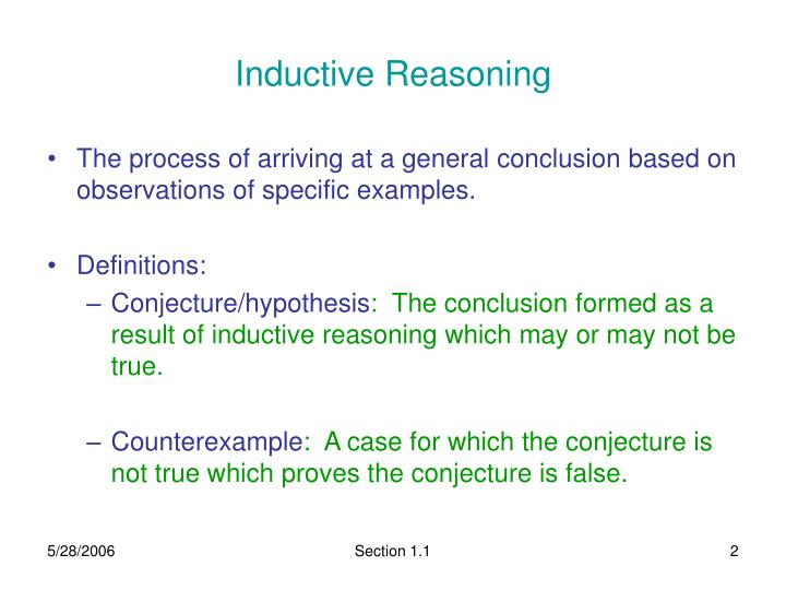 mills inductive reasoning essay Inductive vs deductive reasoning deduction, in contrast, is a kind of top-down reasoning in which we can be 100% certain of our conclusion provided that our premises are true, and that the argument is valid (ie the conclusion really does follow logically from those premises) then we can.
