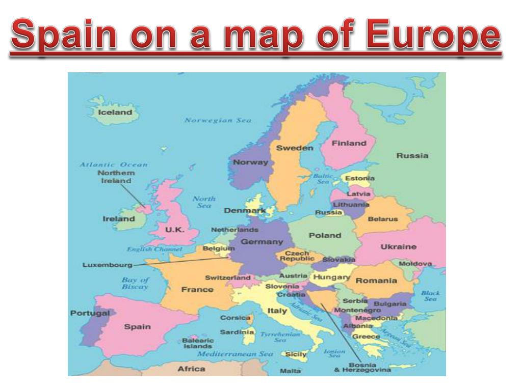 Picture of: Ppt Spain On A Map Of Europe Powerpoint Presentation Free Download Id 3125175