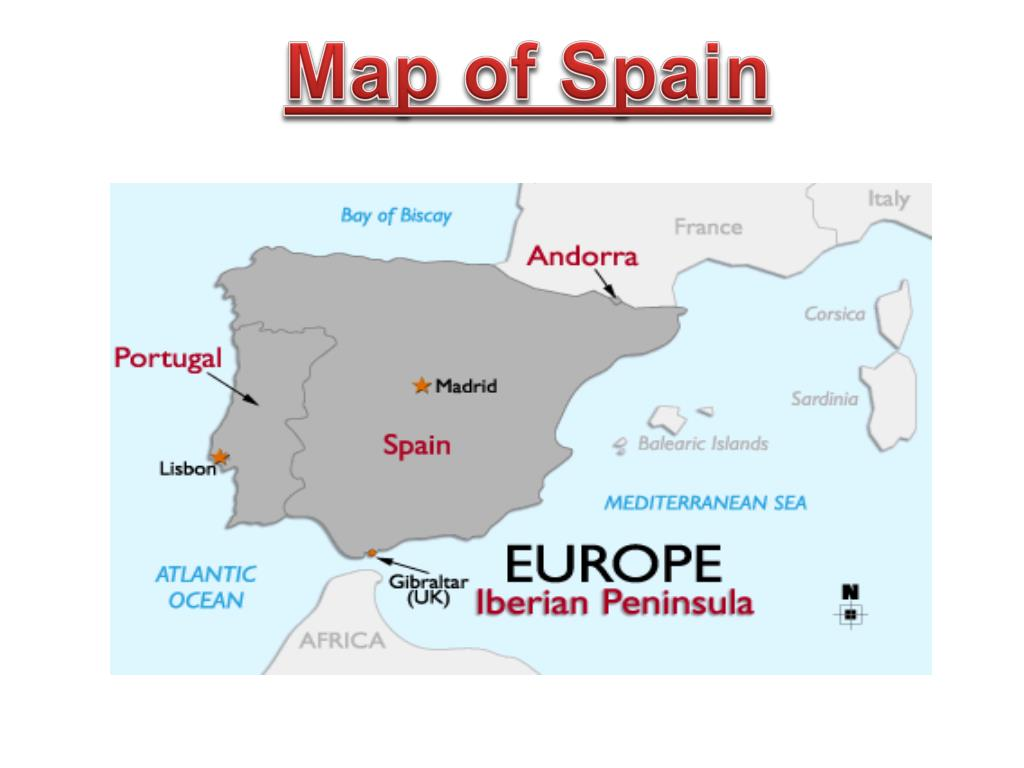 Map Of South West Spain.Ppt Spain On A Map Of Europe Powerpoint Presentation Id 3125175