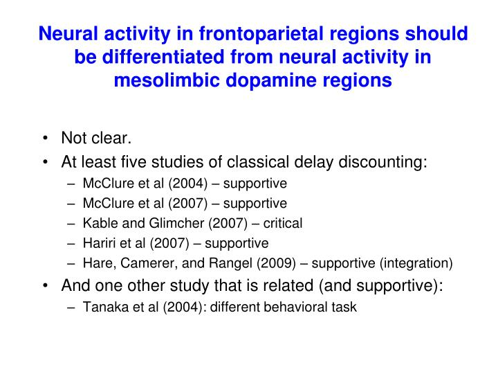 Neural activity in frontoparietal regions should be differentiated from neural activity in mesolimbic dopamine regions