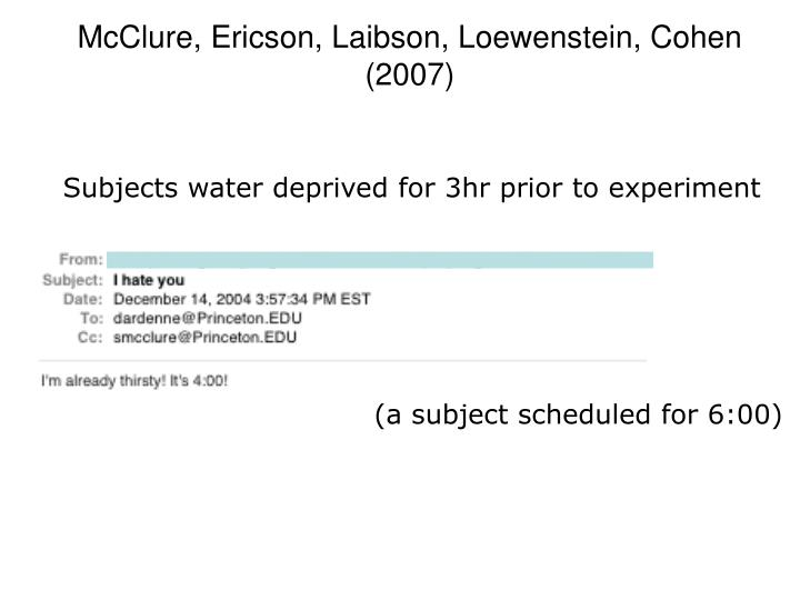 Subjects water deprived for 3hr prior to experiment