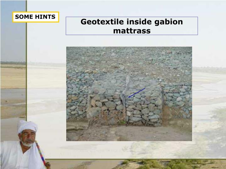 Geotextile inside gabion mattrass