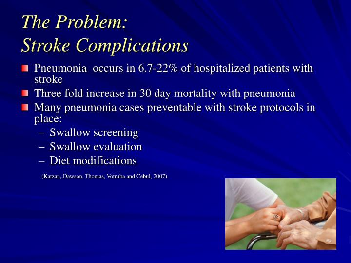 ssa: detecting dysphagia in acute stroke essay Acute stroke patients must receive nothing by mouth (npo), including food, fluid, and oral medications, until a dysphagia screen has been done all patients, except those with a known history of dysphagia, should have a dysphagia screen before any oral intake.