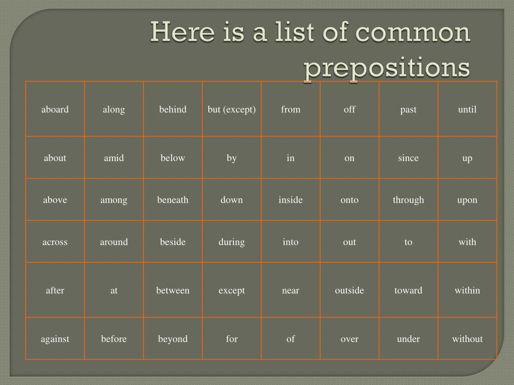 PPT - Prepositions PowerPoint Presentation - ID:3125398