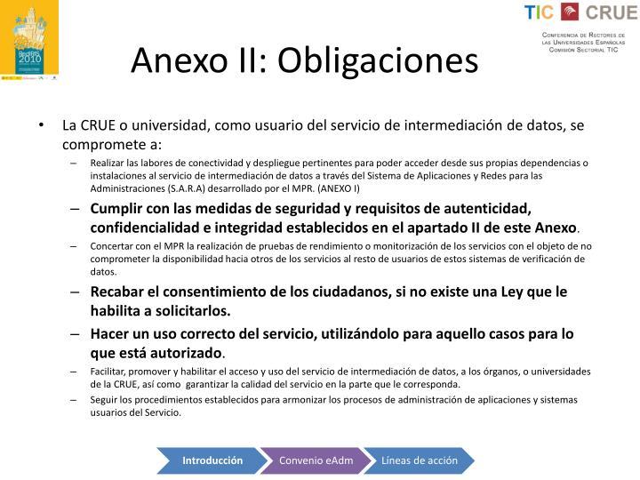 Anexo II: Obligaciones