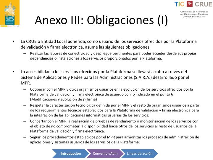 Anexo III: Obligaciones (I)