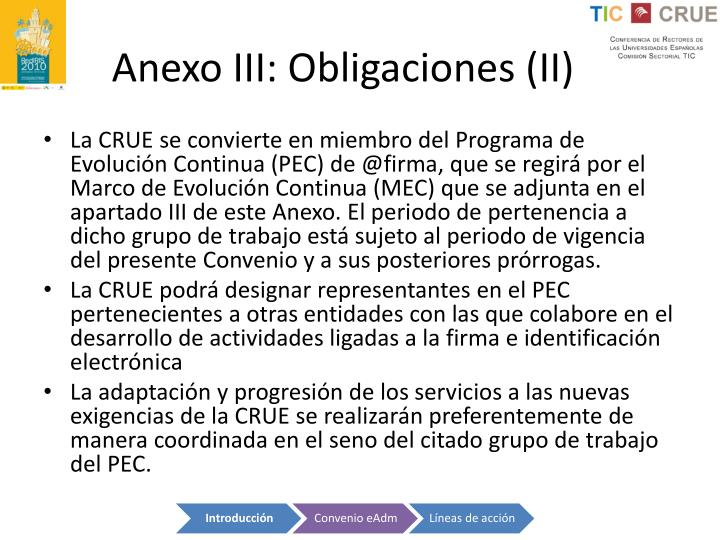 Anexo III: Obligaciones (II)