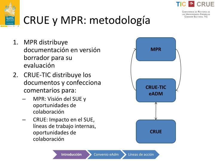 CRUE y MPR: metodología
