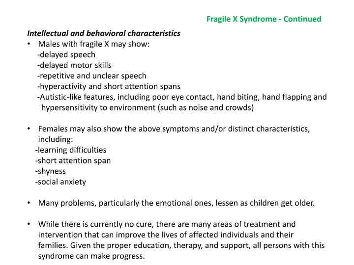 Fragile X Syndrome - Continued