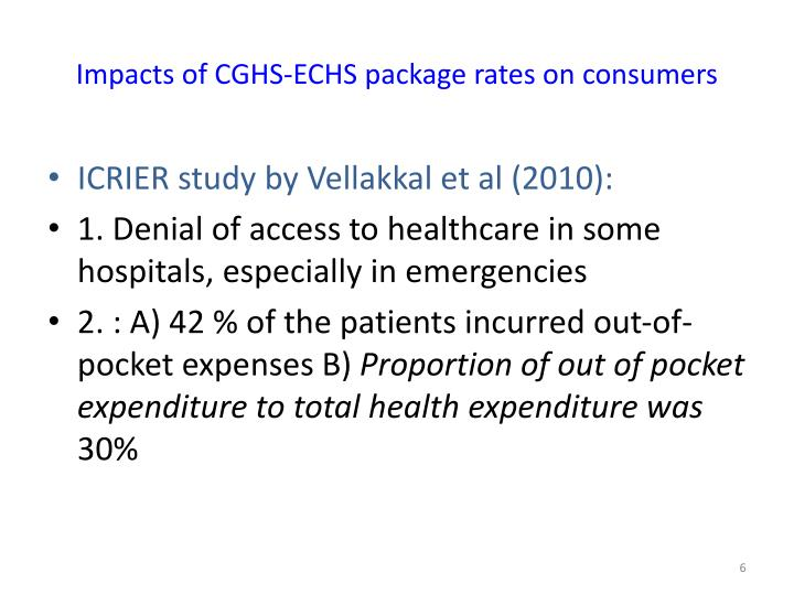 Impacts of CGHS-ECHS package rates on consumers