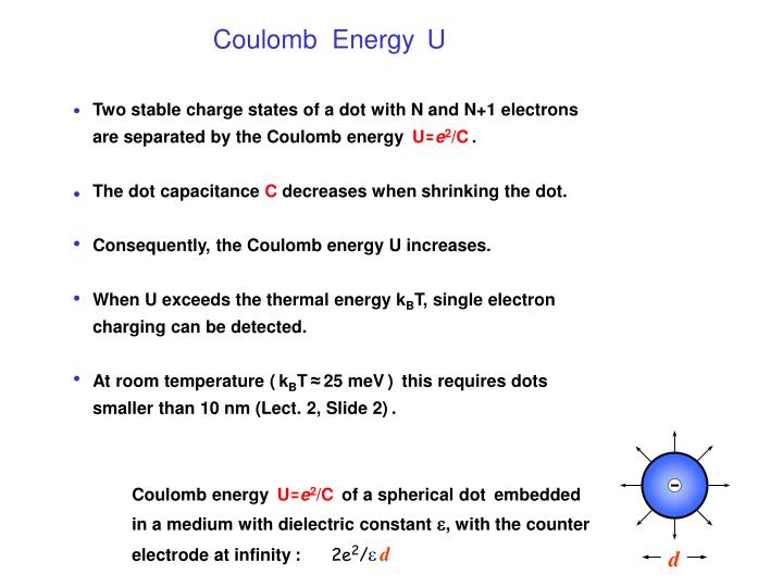 Two stable charge states of a dot with N and N+1 electrons  are separated by the Coulomb energy