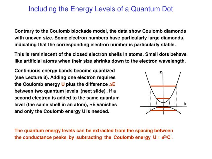 Including the Energy Levels of a Quantum Dot