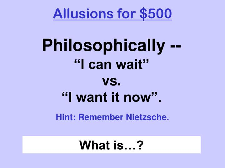 Allusions for $500