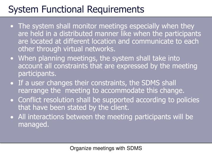 System Functional Requirements