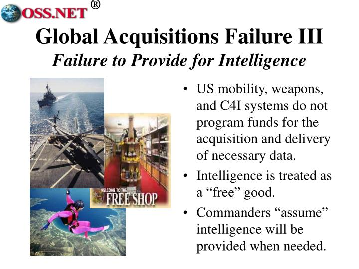 US mobility, weapons, and C4I systems do not program funds for the acquisition and delivery of necessary data.